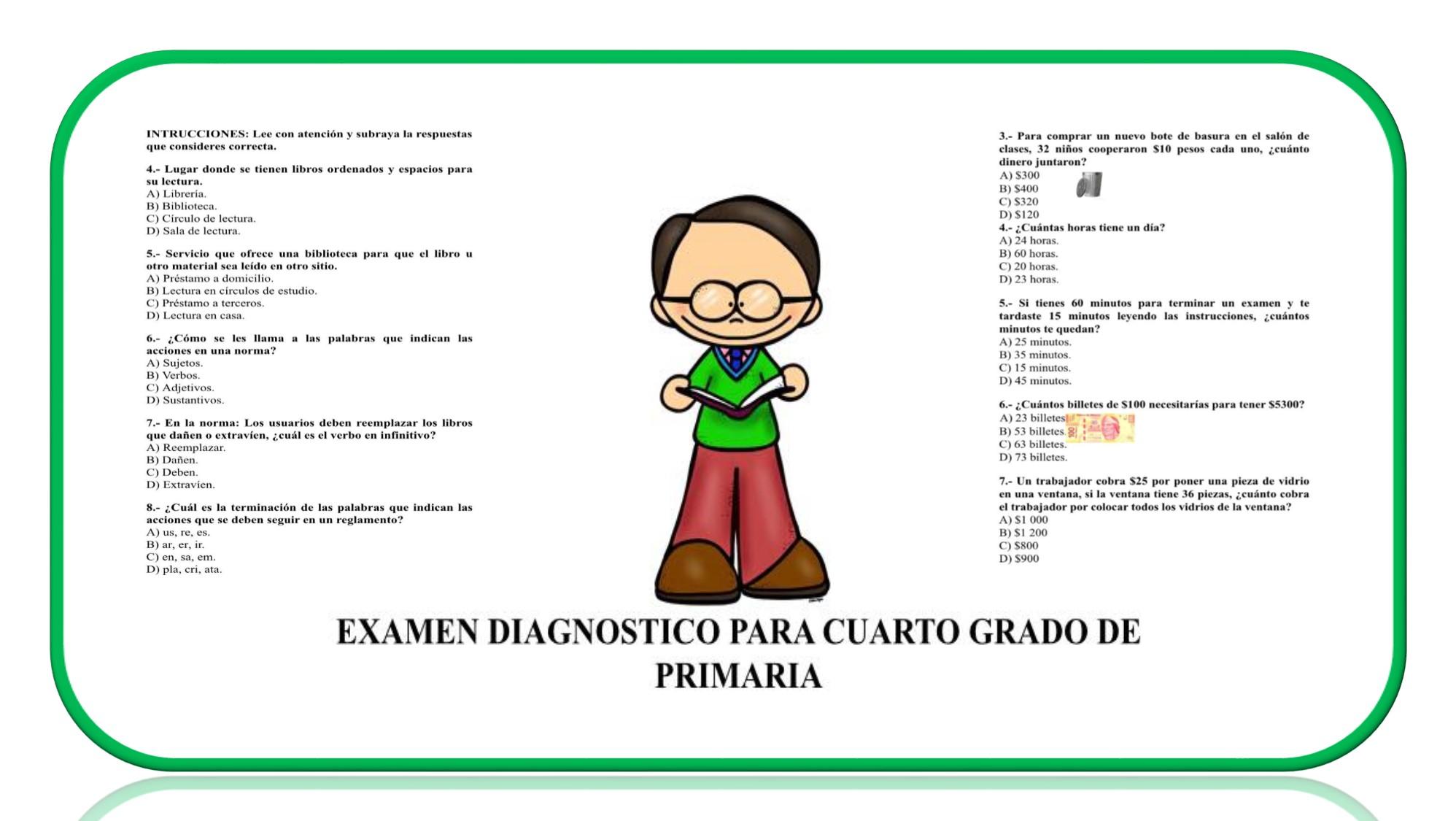 Examen de diagnóstico para cuarto grado del ciclo escolar 2018 ...